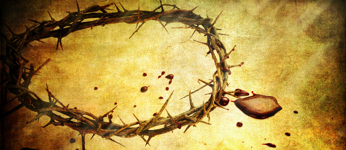 Crown of thorns with blood over textured background.