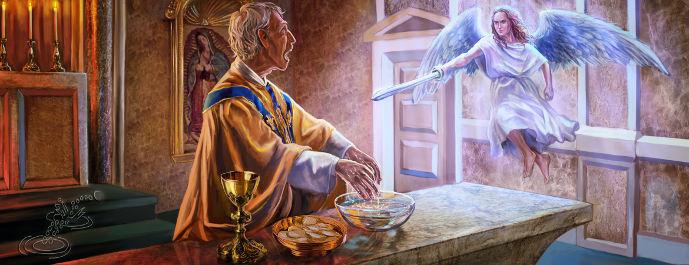 Sacerdote Lavándose Manos Asustado del Ángel de Señor