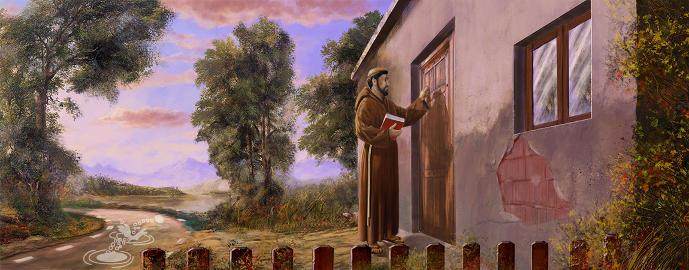 Priest Knocking on Door Editorial Piedrecita